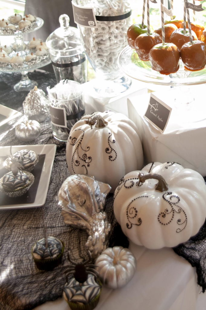 Smash Cake SoCal | Spooky Halloween Party, pumpkins, white pumpkins, jeweled pumpkins, DIY pumpkins, scary trees