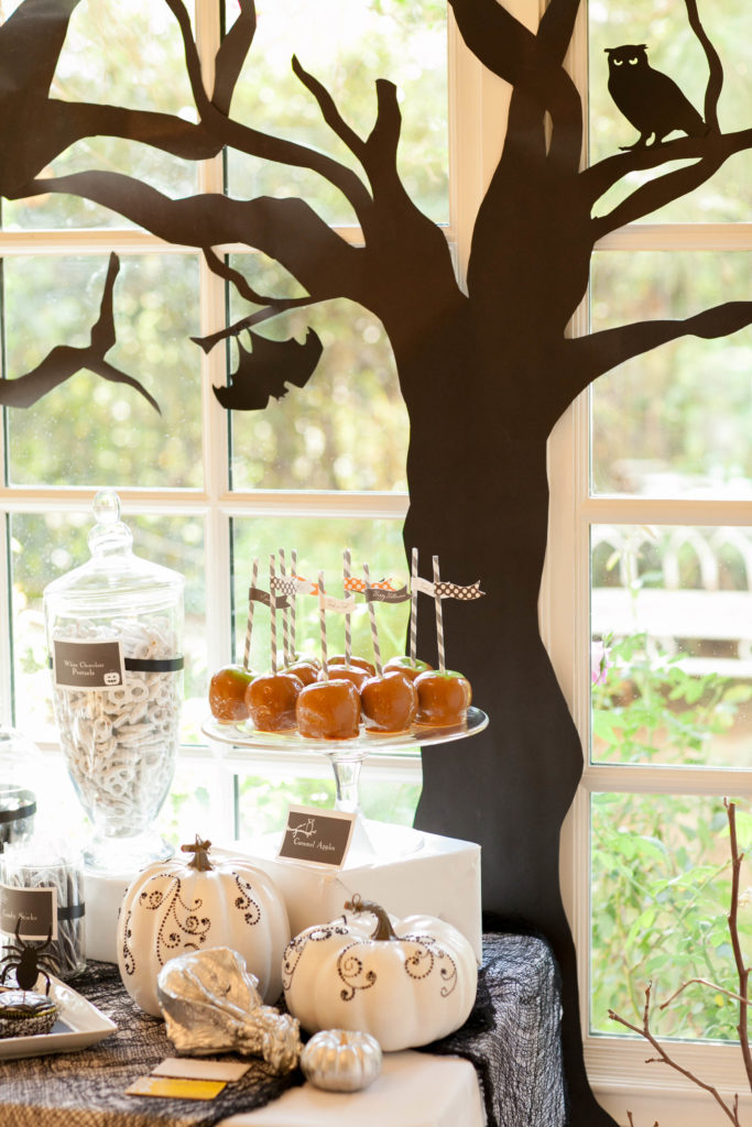Smash Cake SoCal | Spooky Halloween Party, caramel apples, meringue ghosts, scary trees
