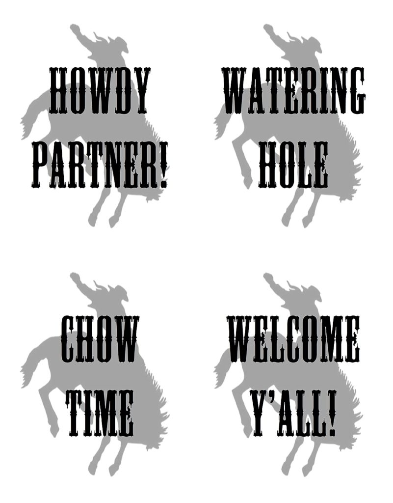 Smash Cake SoCal | Rustic Western Cowboy 1st Birthday FREE digital download, free cupcake toppers, free circle tags, free food labels, vintage, eye-haw, howdy y'all, watering hole, chow time, cowboy signs