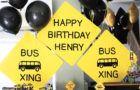 Smash Cake SoCal | Wheels on the Bus 2nd Birthday Party, boys birthday, beep beep, yellow, road signs