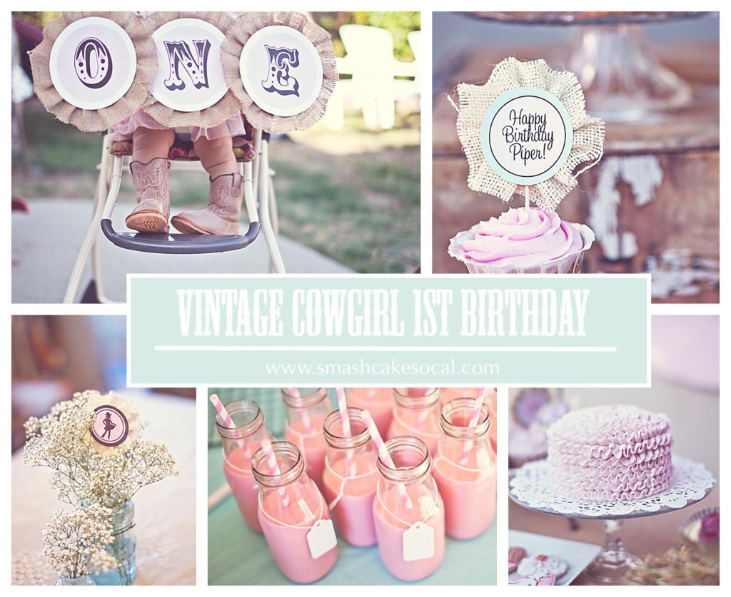 Smash Cake SoCal | Vintage Chic Cowgirl Party with FREE Printable, sweet and shabby chic, rope name backdrop, cowgirl party decor, blue mason jar, baby breath, hay bale, party decor, burlap, frames, cake, ruffled cake, cupcake topper