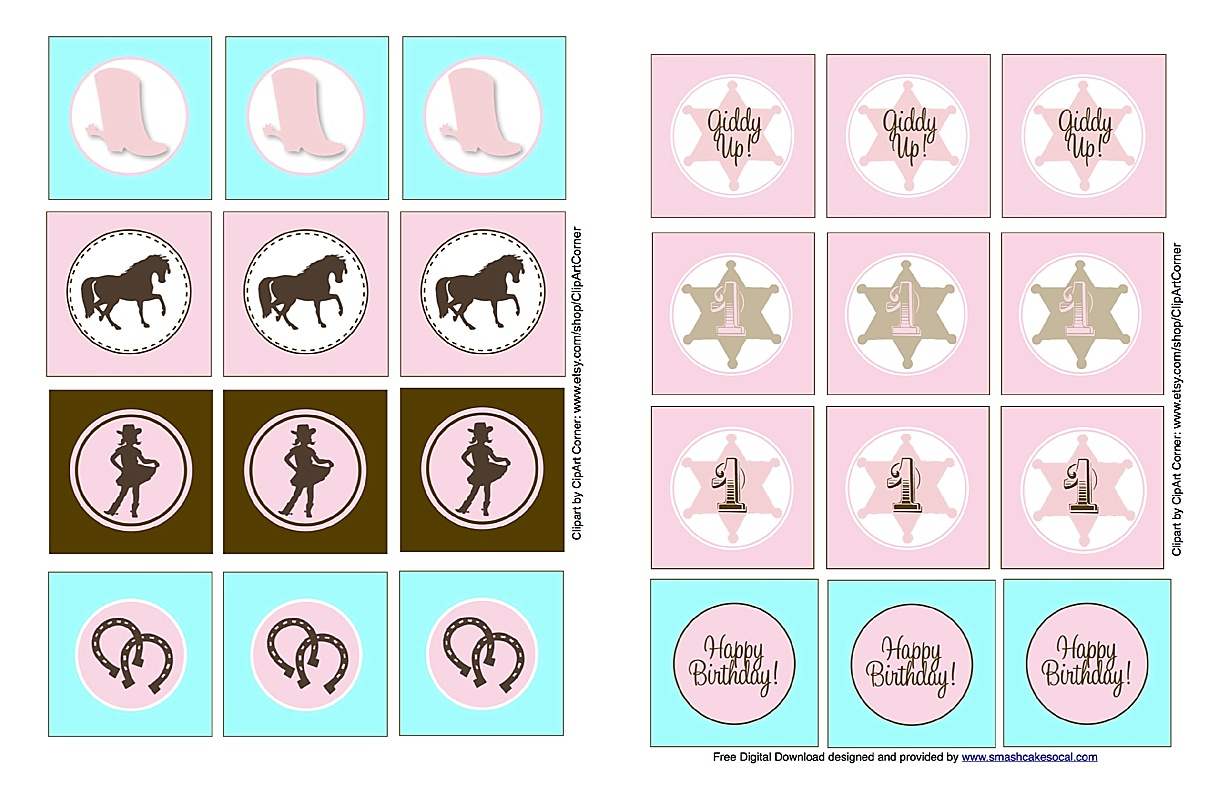 Smash Cake SoCal | Vintage Cowgirl 1st Birthday Party, shabby chic, FREE cowgirl digital download, free cupcake topper download, burlap, lace, rustic, mason jars, baby's breath