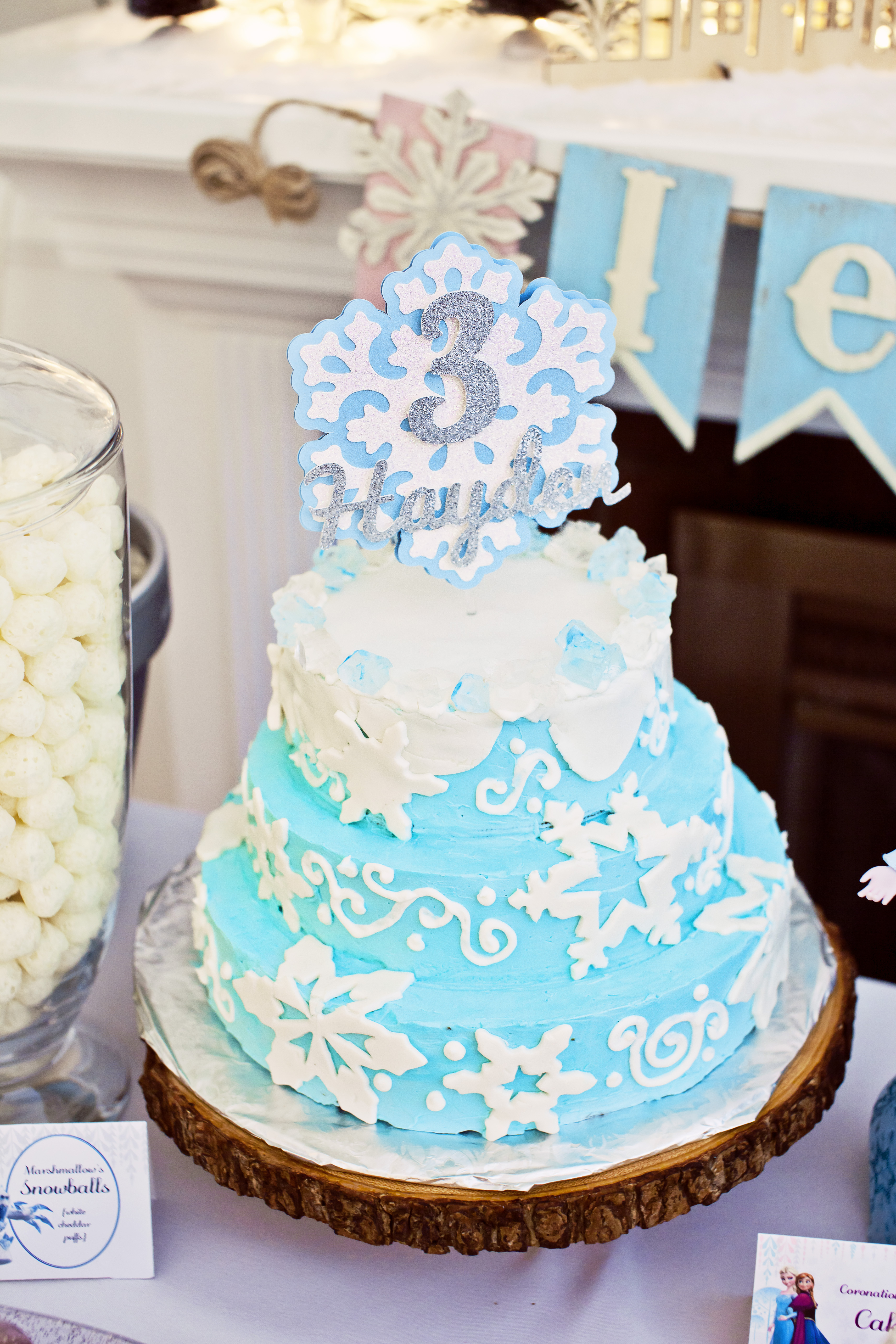 Frozen Birthday Cake and Personalized Topper
