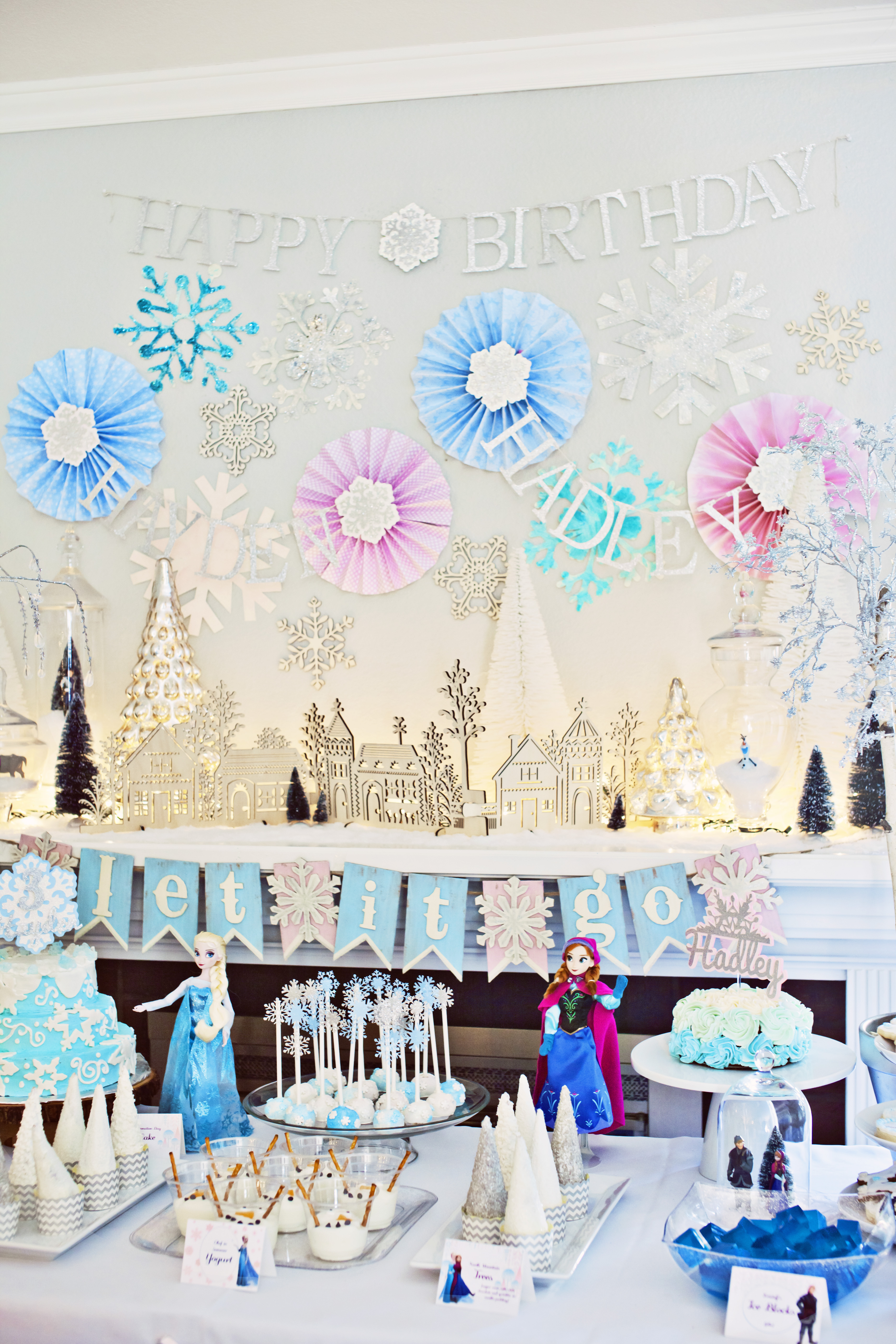 Frozen Birthday Party Dessert Table and Background Smash Cake