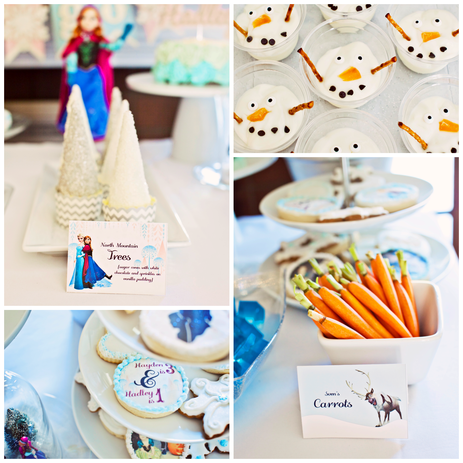 Olaf yogurts, Sven's carrots, decorated sugar cookies
