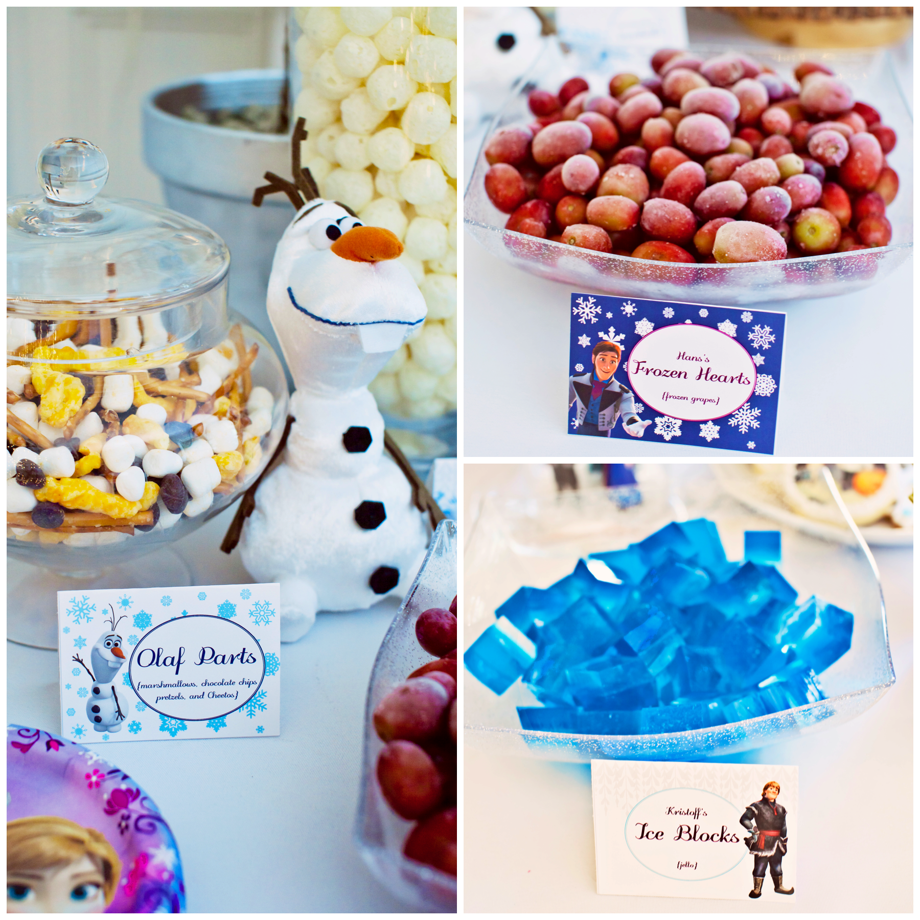 Olaf parts, Frozen hearts, jello ice blocks