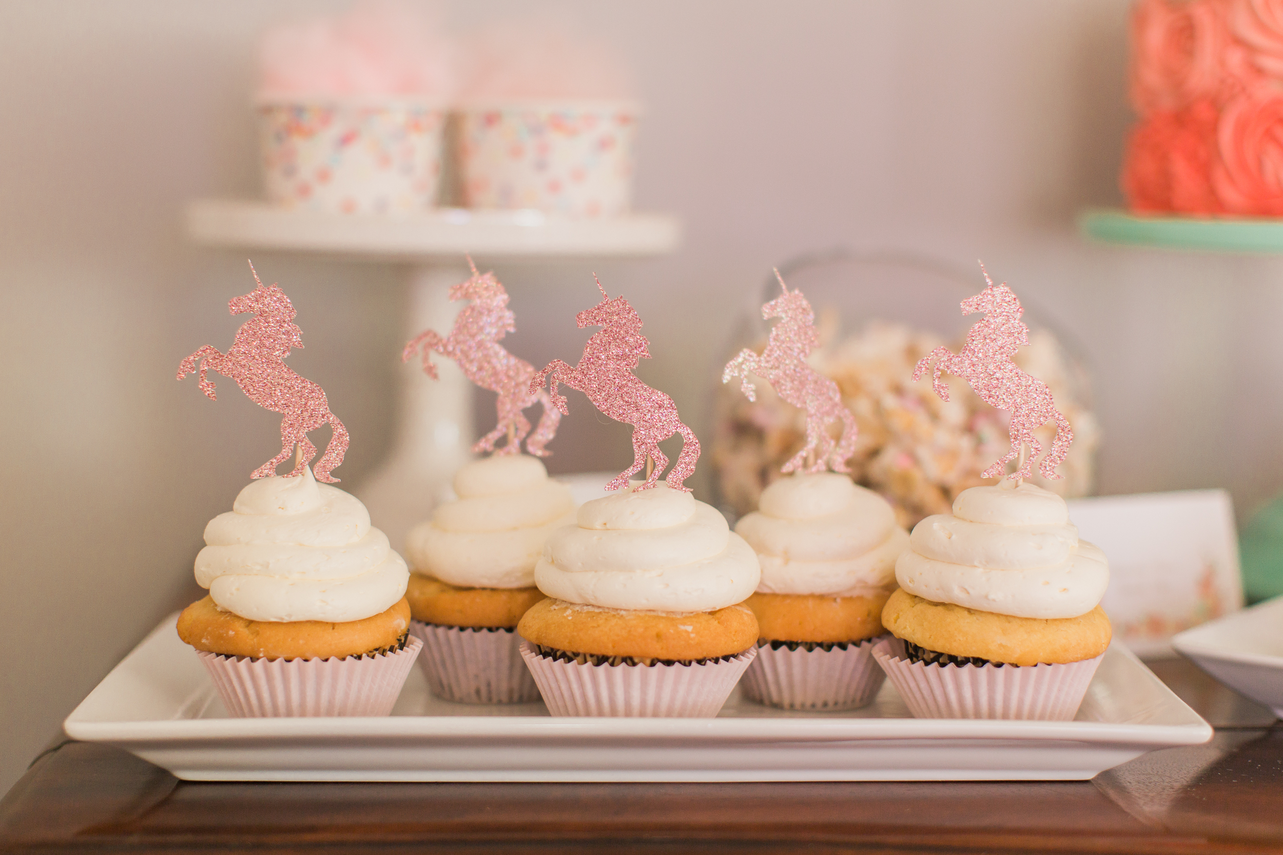 Marigold Mom | Magical Pink, Gold & Mint Unicorn Birthday Party Cupcake Toppers