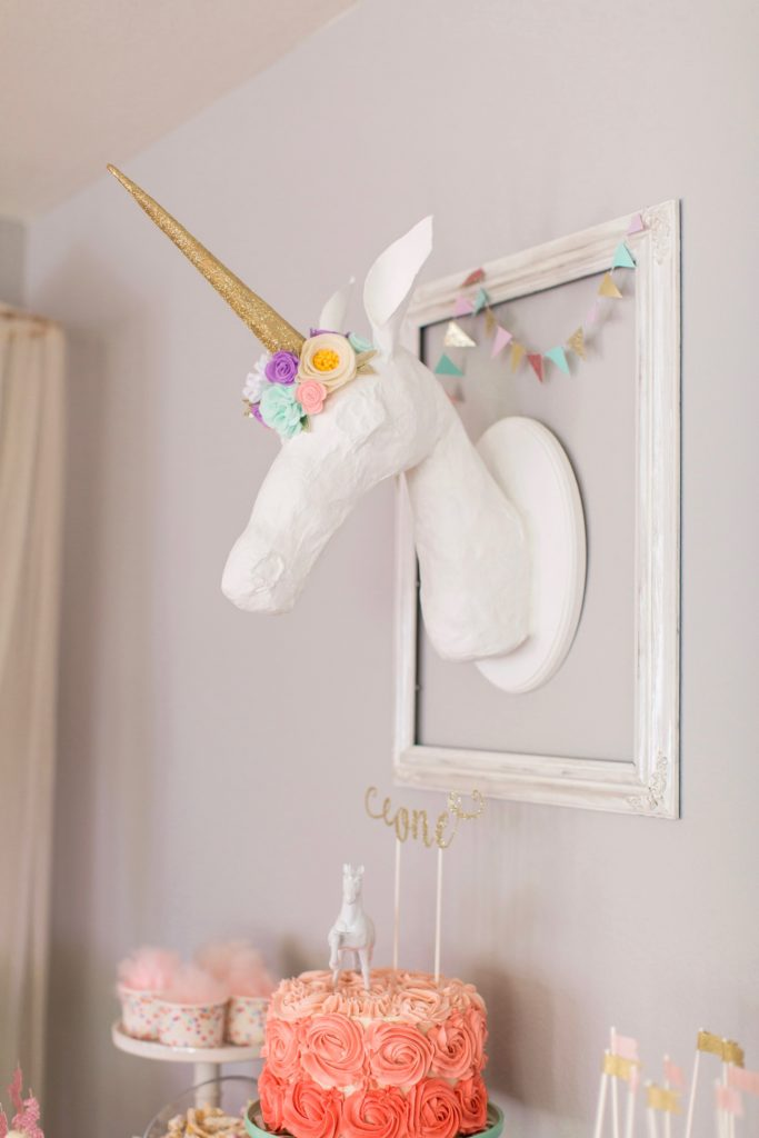Marigold Mom | Magical Pink, Gold & Mint Unicorn Birthday Party - Paper Mache Unicorn Head
