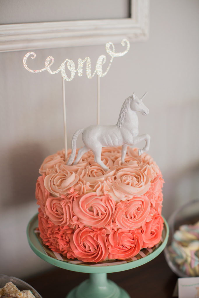 Marigold Mom | Magical Pink & Gold Unicorn Birthday Cake Topper