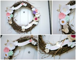 Smash Cake SoCal | Magical Unicorn 1st Birthday party, pink, gold, mint green, front door, wreath, felt flowers