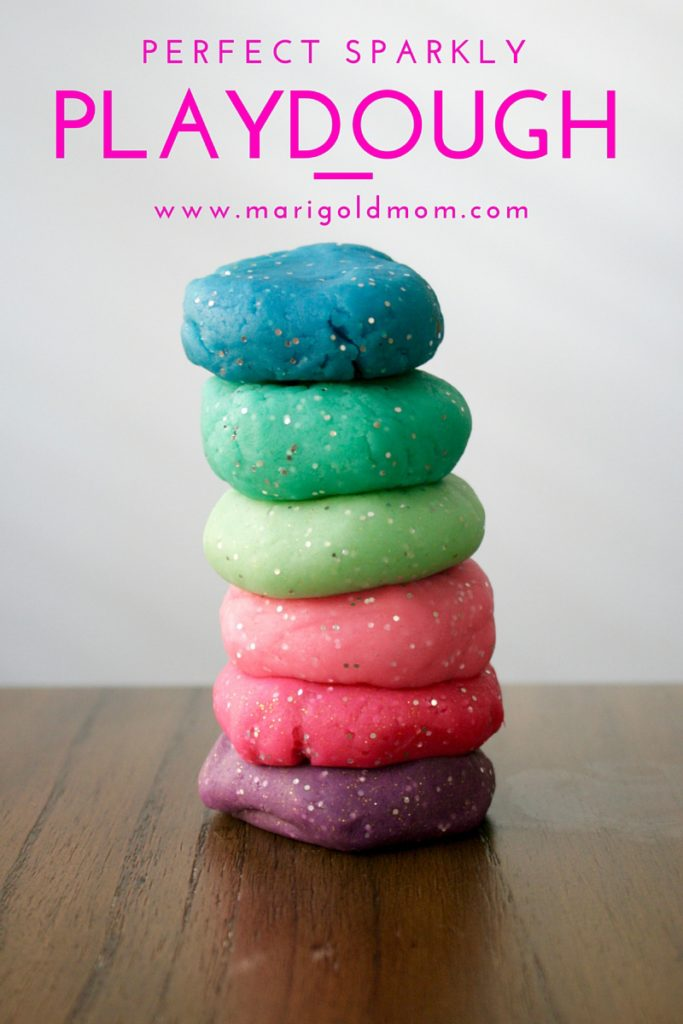 Marigold Mom | Make your own perfect sparkly playdough recipe #DIY #partyfavor #playdoh #glitter