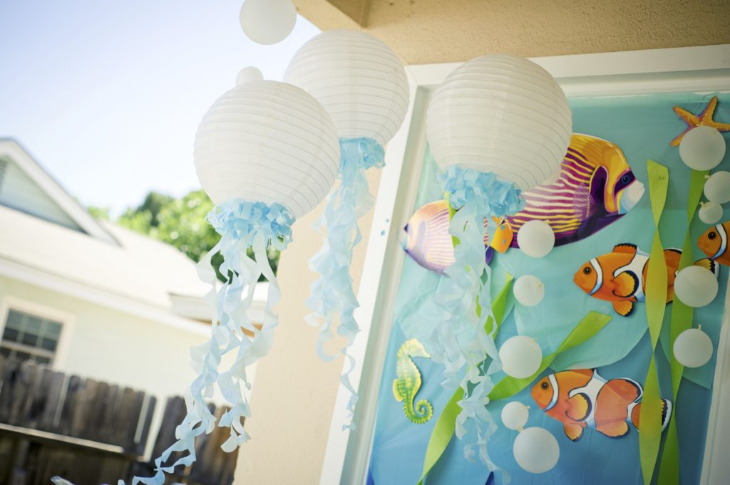 Marigold Mom | Under the Sea Water Party , Summer Party, Goldfish, Decor, Jellyfish Lantern