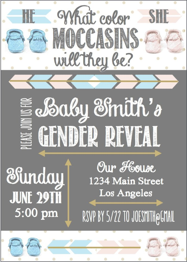 Marigold Mom | Moccasin Gender Reveal, Pink & Blue, Baby, Decor, Printables, Etsy, Invitation, Tribal, Native, Navajo, Arrows