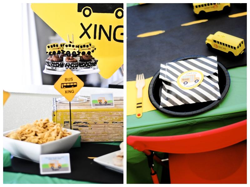 Smash Cake SoCal | Wheels on the Bus Boys Birthday Party, Yellow, Black, Favor, Food Labels, Road Signs