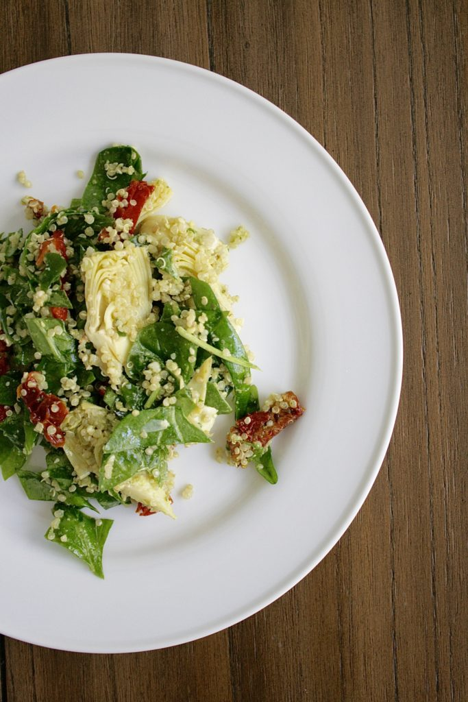 Smash Cake SoCal | Spinach Quinoa Salad with artichoke, sun dried tomato, red onion, presto, healthy, gluten free