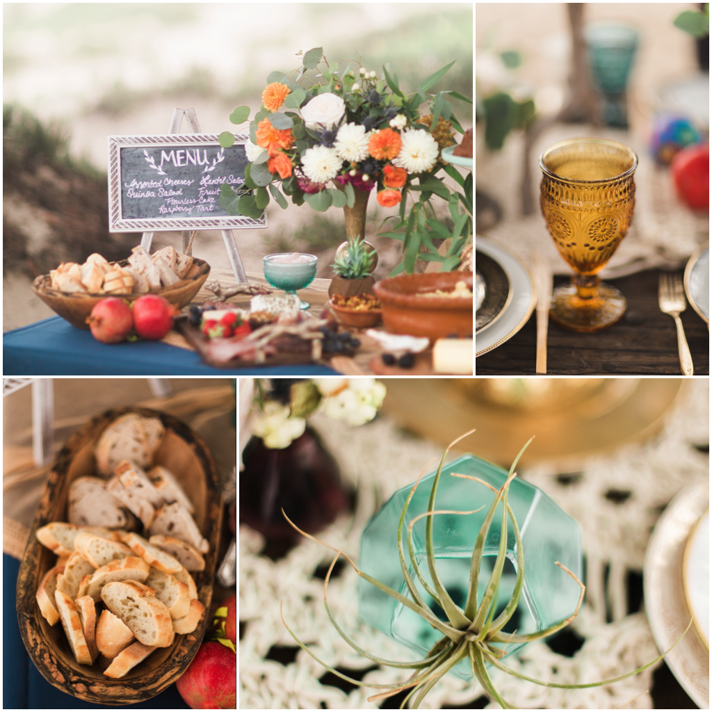 Smash Cake SoCal | Bohemian Beach Baby shower, destination beach event, vintage dish rentals, macrame table runner, boho, hippy, ocean, wedding, elopement, vow renewal, chalkboard menu, goblet, rustic bread, air plant, tablescape