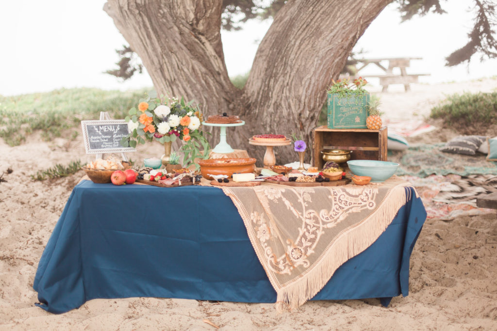 Smash Cake SoCal | Bohemian Beach Baby shower, destination beach event, vintage dish rentals, macrame table runner, boho, hippy, ocean, wedding, elopement, vow renewal, boho appetizers, cheese plate, beach dinner party, desserts, salad