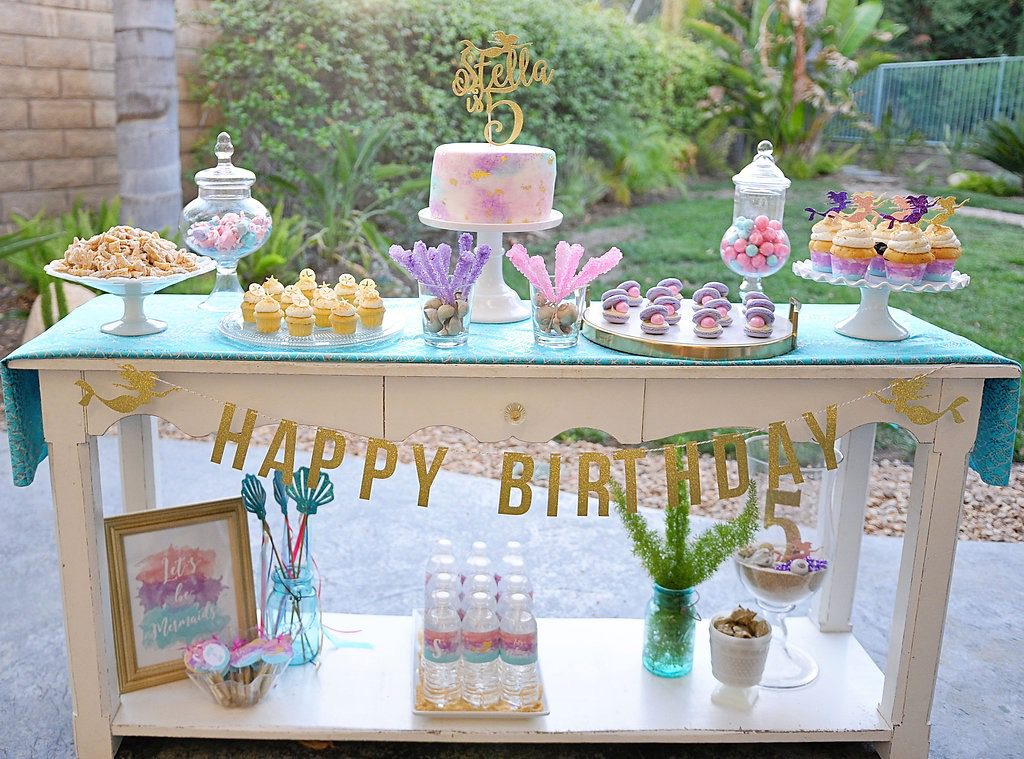 Smash Cake SoCal | Watercolor Mermaid 5th Birthday, girls birthday, under the sea, ocean, pool, dessert table, cupcakes, cake toppers, cake topper, gold, aqua, pink, glitter, lets be mermaids, sand, oyster macarons, watercolor cake