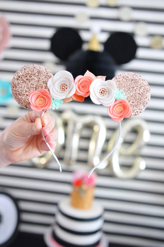 The C Shoppe | Minnie Mouse Ears with felt flowers and rose gold glitter