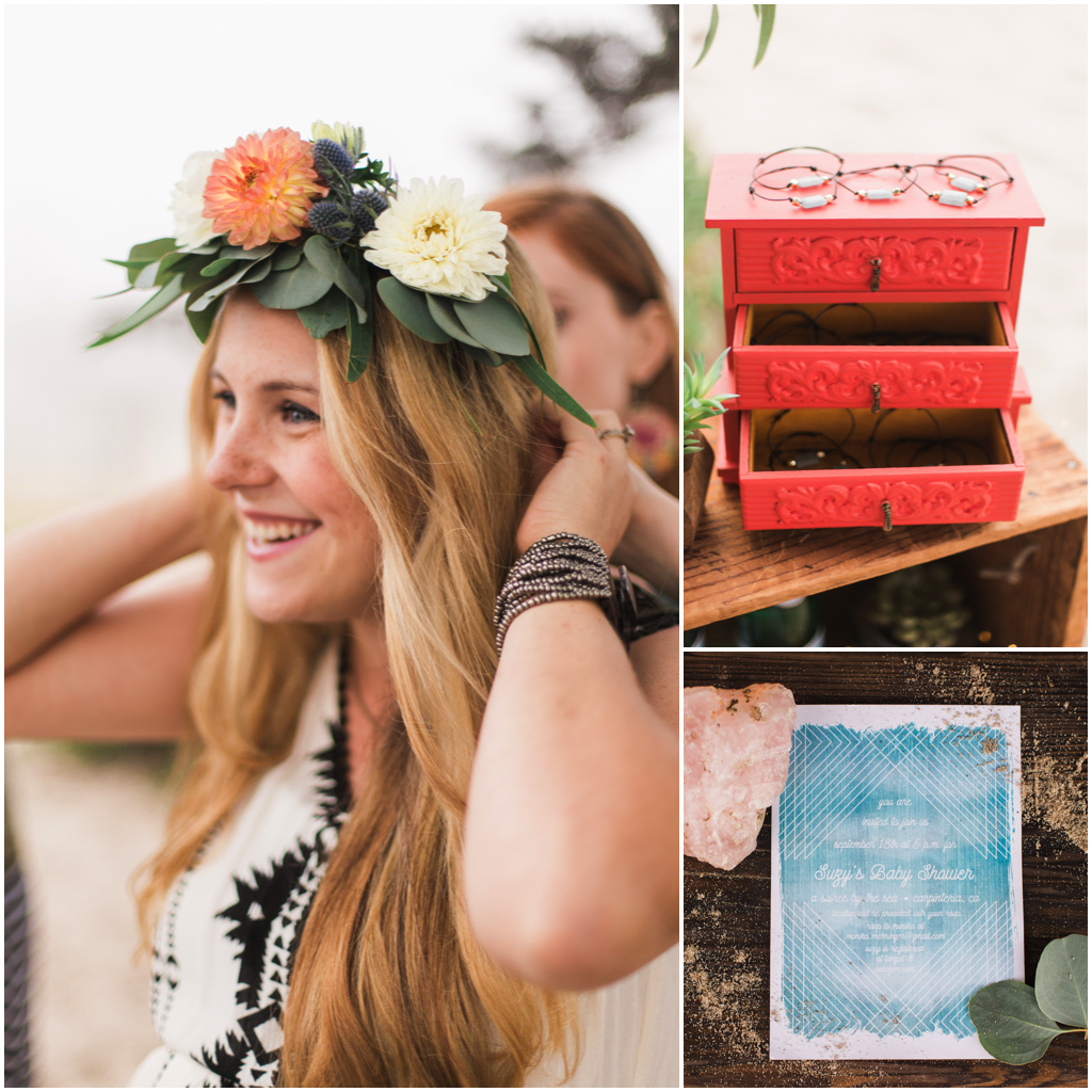 boho party favors, boho floral crown for mother to be, boho invitations