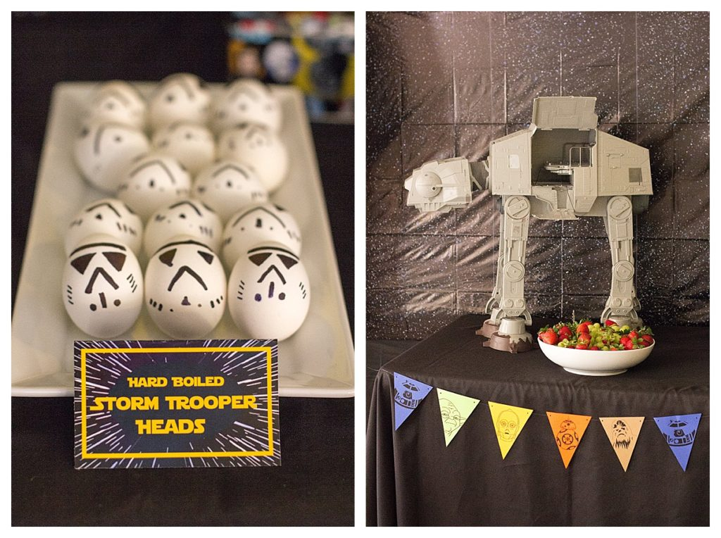 Smash Cake SoCal | Star Wars 5th Birthday party, boys parties, dark side, may the force be with you, death star, star destroyer, paper mache, cake, storm trooper, donuts, breakfast, Star Wars Party Food, Storm Trooper Eggs