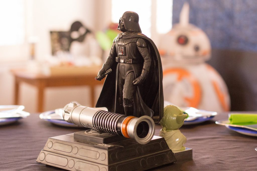 Smash Cake SoCal | Star Wars 5th Birthday party, boys parties, dark side, may the force be with you, death star, star destroyer, paper mache, cake, storm trooper, donuts, breakfast, light saber, Darth Vader