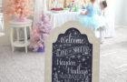 Hand lettered chalkboard sign