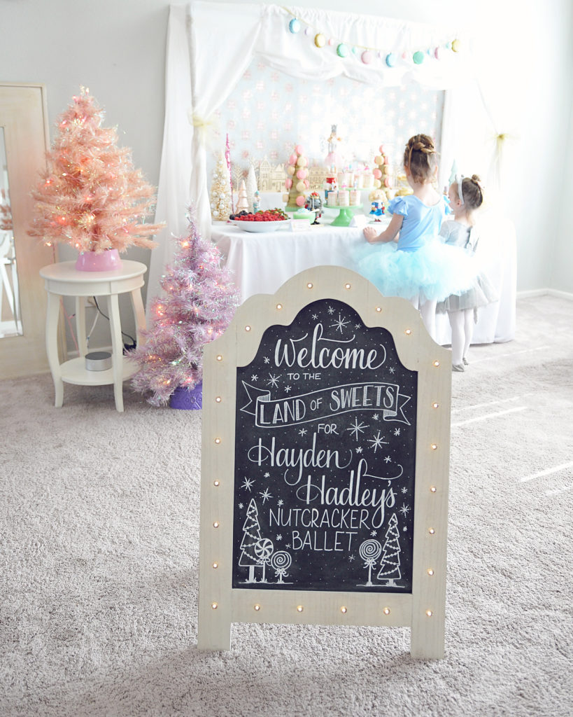 Smash Cake SoCal | Nutcracker Ballet Birthday Party, Christmas, Holiday, Girls Birthday, Land of Sweets, Hand lettered chalkboard sign