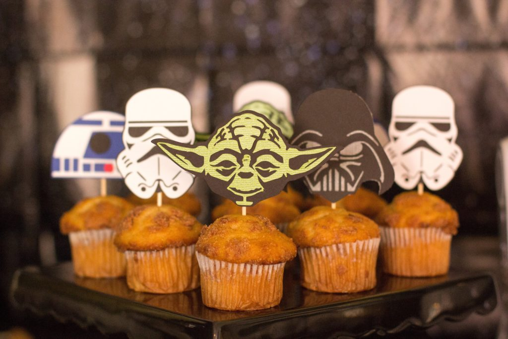 Smash Cake SoCal | Star Wars 5th Birthday party, boys parties, dark side, may the force be with you, death star, star destroyer, paper mache, cake, storm trooper, donuts, breakfast, star wars food, Star Wars cupcake toppers, Silhouette Cameo