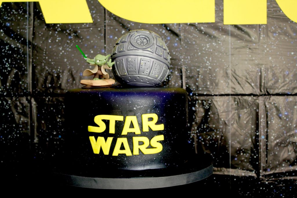 Smash Cake SoCal | Star Wars 5th Birthday party, boys parties, dark side, may the force be with you, death star, star destroyer, paper mache, cake, storm trooper, donuts, breakfast, star wars cake, Yoda, death star