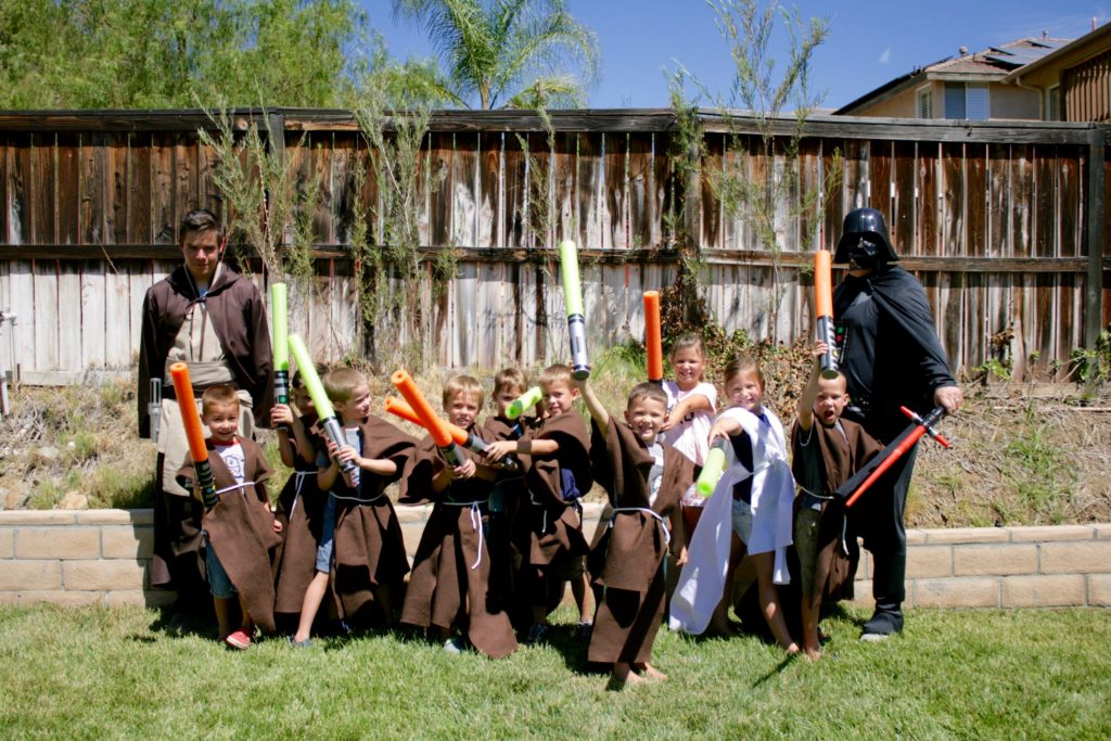 Smash Cake SoCal | Star Wars 5th Birthday party, boys parties, dark side, may the force be with you, death star, star destroyer, paper mache, cake, storm trooper, donuts, breakfast, Jedi training