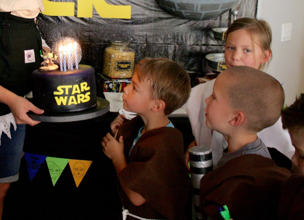 Smash Cake SoCal | Star Wars 5th Birthday party, boys parties, dark side, may the force be with you, death star, star destroyer, paper mache, cake, storm trooper, donuts, breakfast, cake