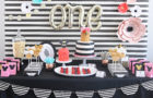 Floral Stripe Minnie Mouse first birthday party