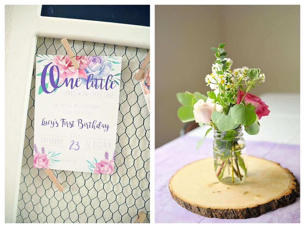 Smash Cake SoCal | Purple Ribbons & Roses 1st Birthday, invitation, centerpiece, wood round