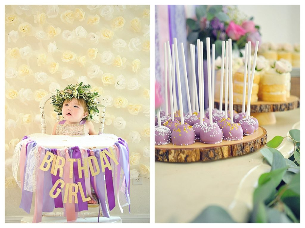 Smash Cake SoCal | Purple Ribbons & Roses 1st Birthday, floral crown, ribbon banner, cake pop