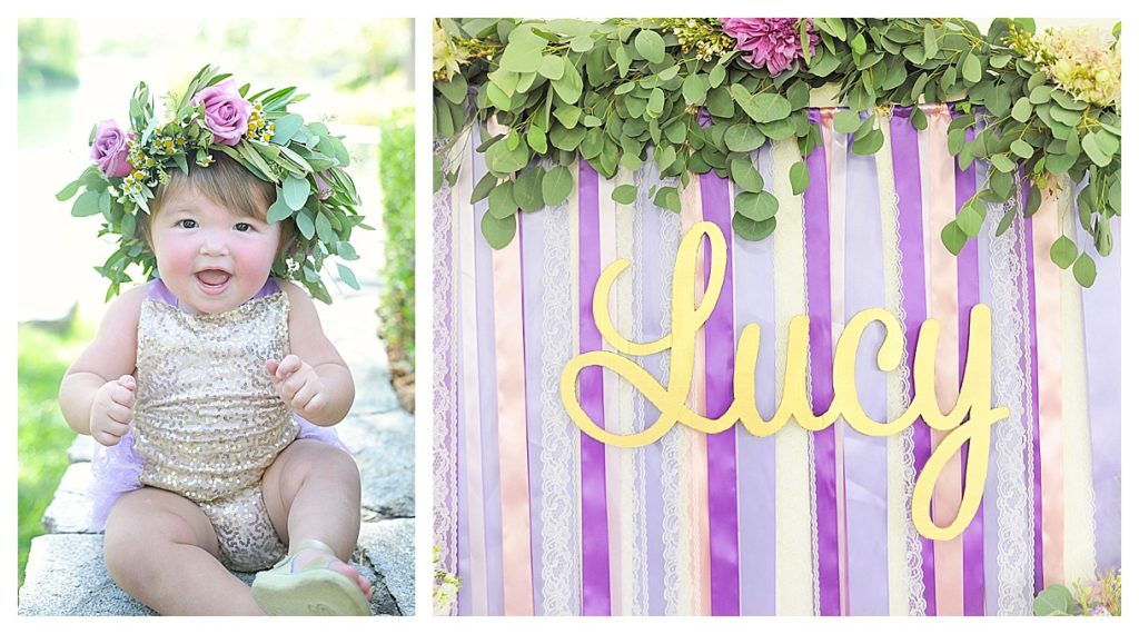 Smash Cake SoCal | Purple Ribbons & Roses 1st Birthday, floral crown, ribbon banner, ribbon backdrop, floral garland, gold, name backdrop