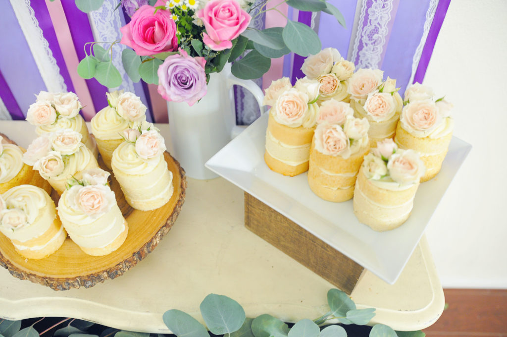 Smash Cake SoCal | Purple Ribbons & Roses 1st Birthday, naked mini cakes