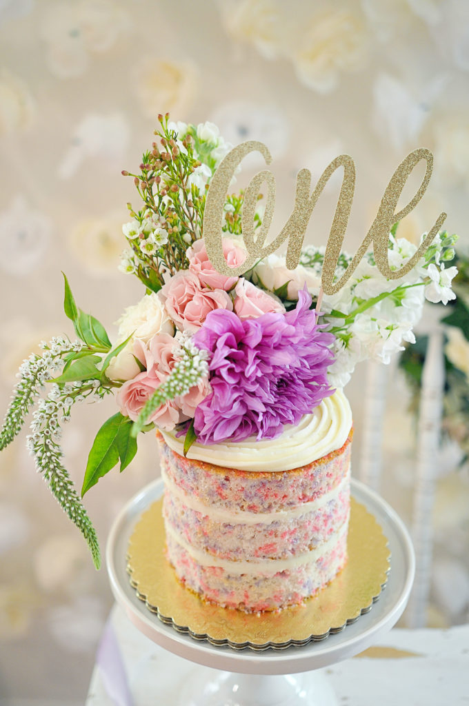Smash Cake SoCal | Purple Ribbons & Roses 1st Birthday, naked cake, one glitter cake topper, confetti cake