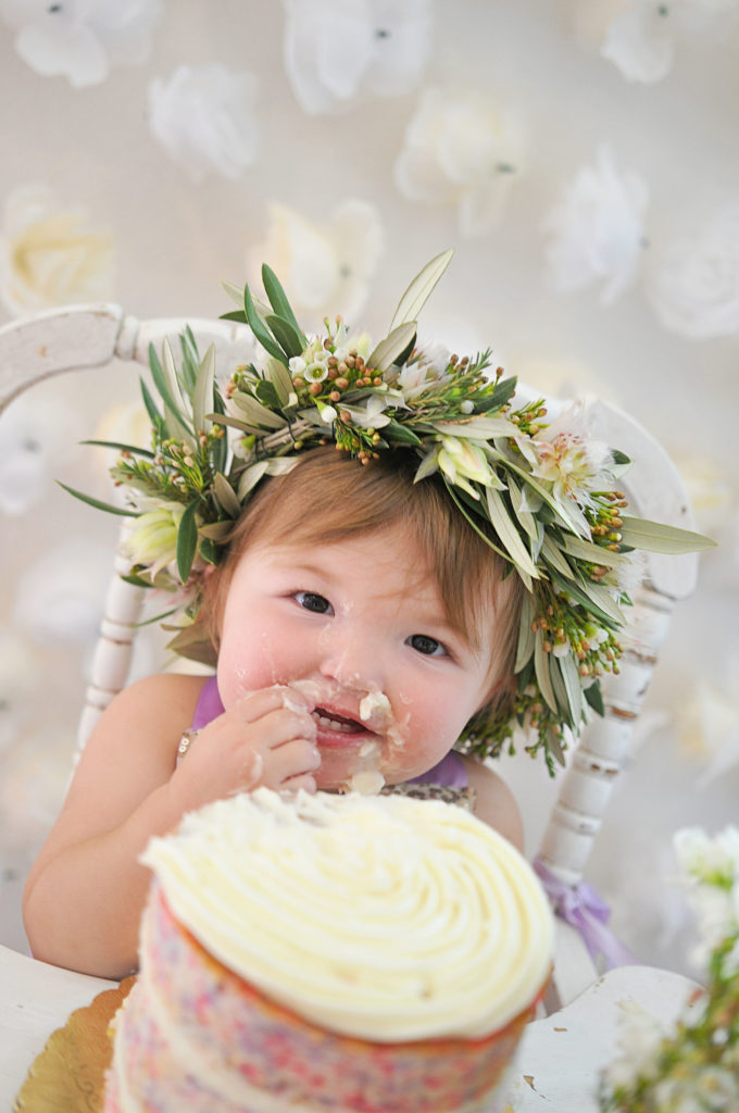 Smash Cake SoCal | Purple Ribbons & Roses 1st Birthday, naked cake, floral crown, vintage highchair