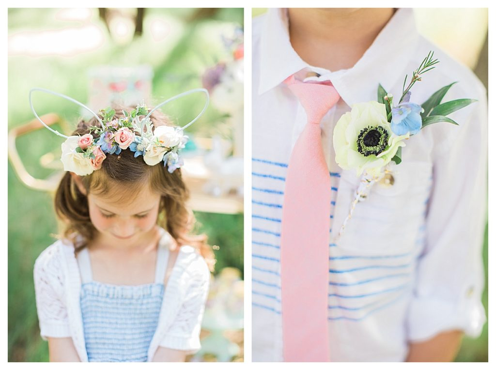 Smash Cake SoCal | Whimsical Wooded Easter Egg Hunt, Stylized Shoot, woods, bunny, table setting, magical, floral crowns, childrens party, table setting, gold flatware, moss, bunny ears, easter basket, easter tablescape, easter centerpiece, spring, bunny ears flower crown, boys boutonniere