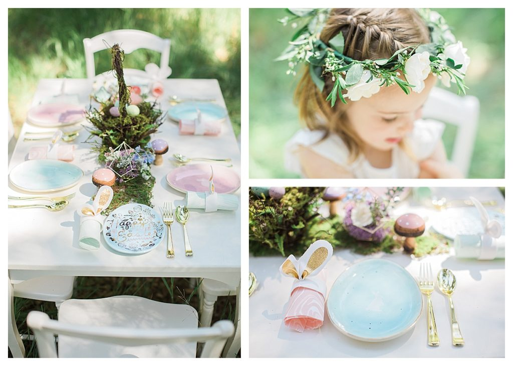 Smash Cake SoCal | Whimsical Wooded Easter Egg Hunt, Stylized Shoot, woods, bunny, table setting, magical, floral crowns, childrens party, table setting, gold flatware, moss, bunny ears, easter basket, easter tablescape, easter centerpiece, spring, terrarium flower arrangement, flower crown