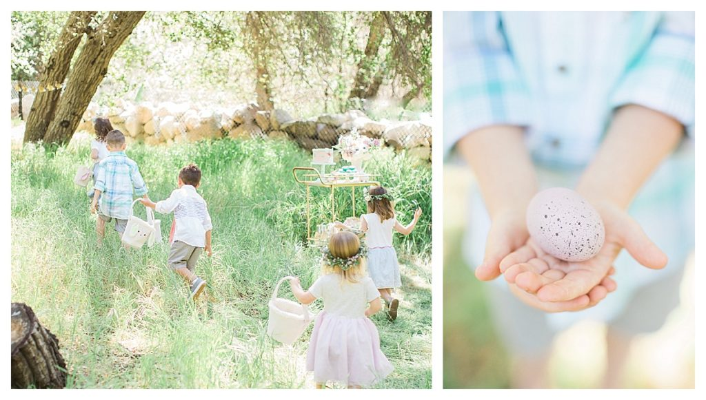 Smash Cake SoCal | Whimsical Wooded Easter Egg Hunt, Stylized Shoot, woods, bunny, table setting, magical, floral crowns, childrens party, bunny ears, easter basket, easter, spring, easter basket, egg hunt, bunny basket, flower crown
