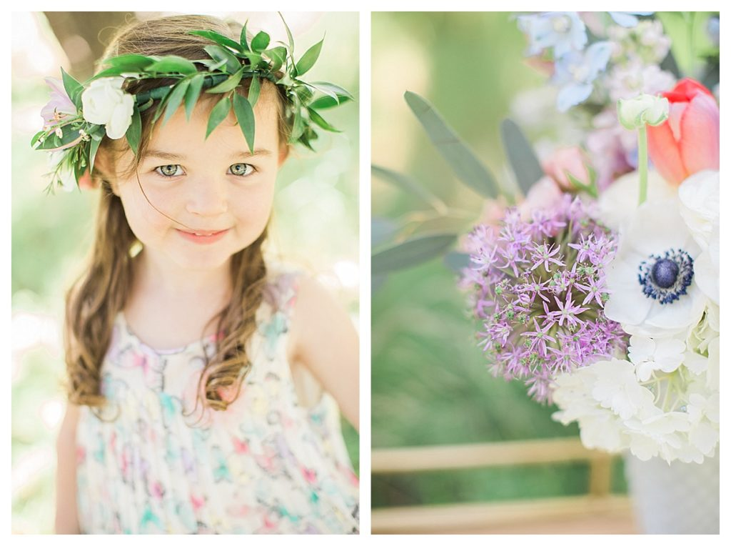 Smash Cake SoCal | Whimsical Wooded Easter Egg Hunt, Stylized Shoot, woods, bunny, table setting, magical, floral crowns, childrens party, bunny ears flower crown, spring flower arrangement, pastel