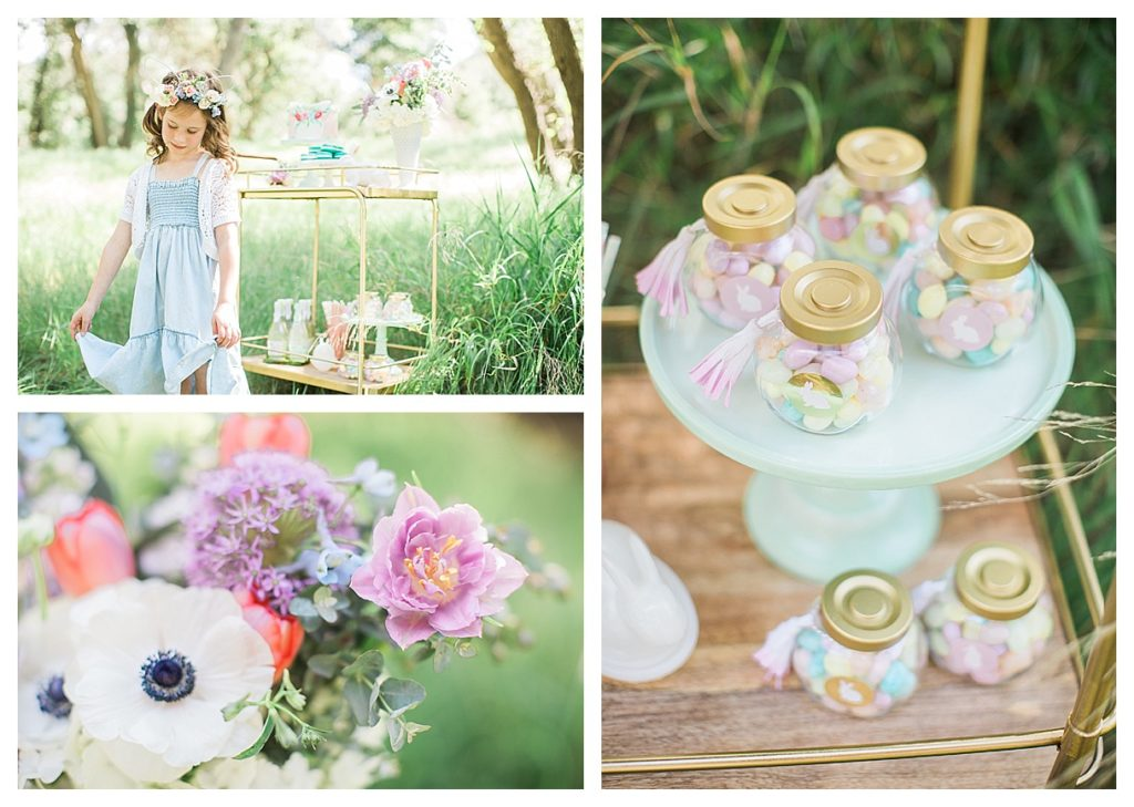 Smash Cake SoCal | Whimsical Wooded Easter Egg Hunt, Stylized Shoot, woods, bunny, table setting, magical, floral crowns, childrens party, table setting, gold flatware, moss, bunny ears, easter basket, easter tablescape, easter centerpiece, spring, terrarium flower arrangement, easter favors, jelly bean favors, cute straws, cute drinks, childrens drinks, gold bar cart, bunny, spring flower arrangement, gold bar cart, bunny ears flower crown
