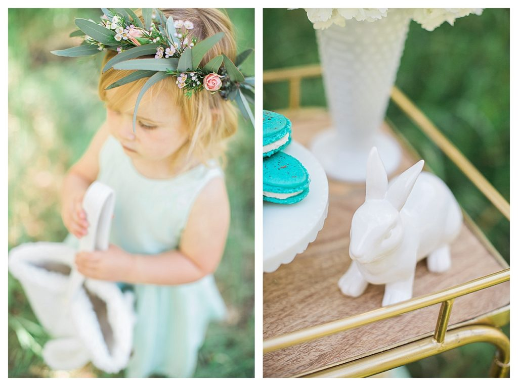 Smash Cake SoCal | Whimsical Wooded Easter Egg Hunt, Stylized Shoot, woods, bunny, table setting, magical, floral crowns, childrens party, table setting, gold flatware, moss, bunny ears, easter basket, easter tablescape, easter centerpiece, spring, terrarium flower arrangement, flower crown, boys boutonniere