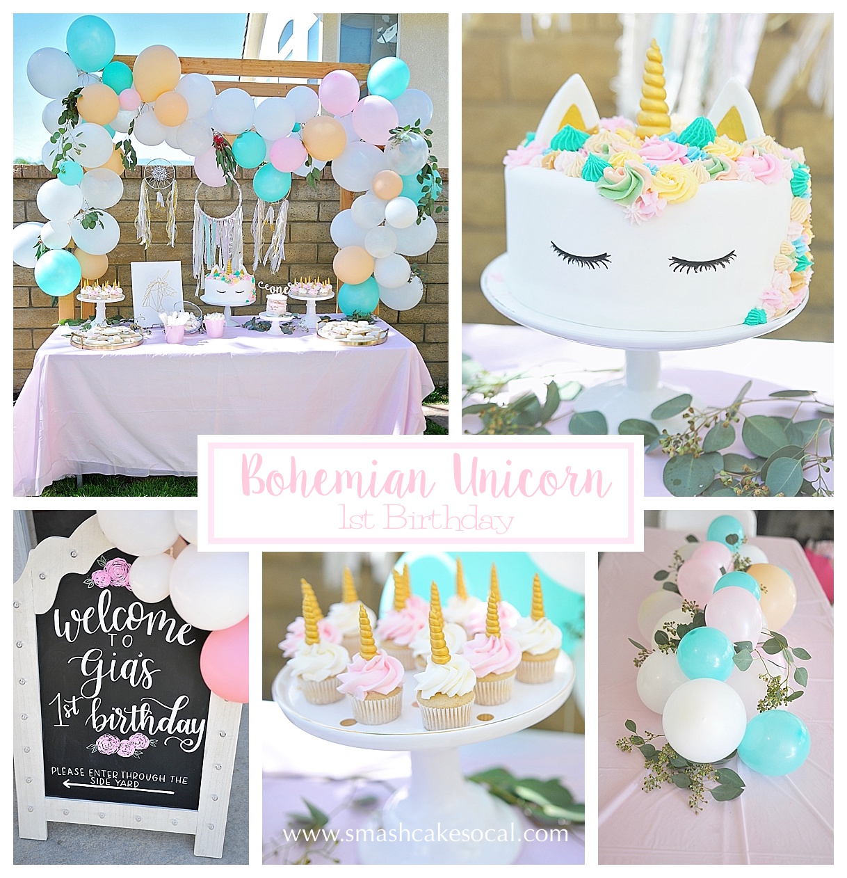 Bohemian Unicorn 1st Birthday Smash Cake