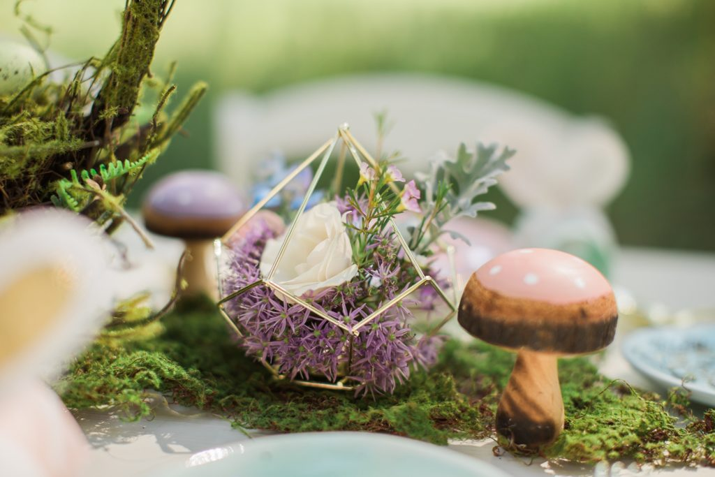 Smash Cake SoCal | Whimsical Wooded Easter Egg Hunt, Stylized Shoot, woods, bunny, table setting, magical, floral crowns, childrens party, table setting, gold flatware, moss, bunny ears, easter basket, easter tablescape, easter centerpiece, spring, terrarium flower arrangement, mushrooms
