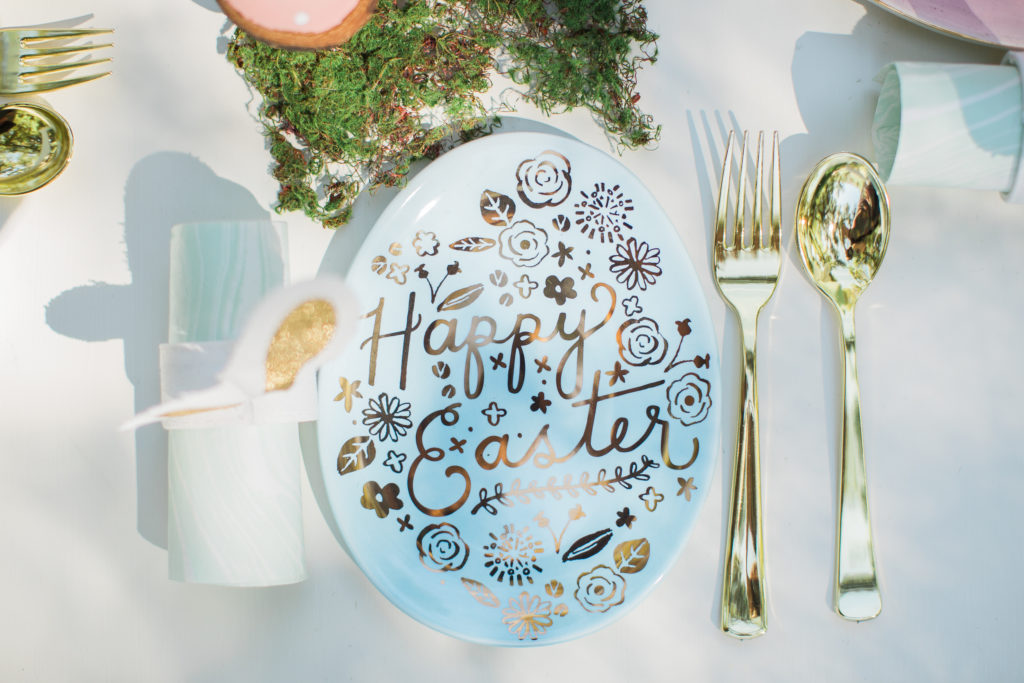 Smash Cake SoCal | Whimsical Wooded Easter Egg Hunt, Stylized Shoot, woods, bunny, table setting, magical, floral crowns, childrens party, bunny ears, gold flatware, moss, easter tablescape