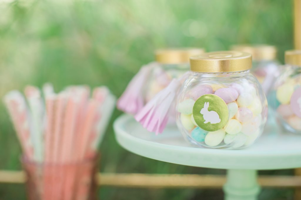 Smash Cake SoCal | Whimsical Wooded Easter Egg Hunt, Stylized Shoot, woods, bunny, table setting, magical, floral crowns, childrens party, table setting, gold flatware, moss, bunny ears, easter basket, easter tablescape, easter centerpiece, spring, terrarium flower arrangement, easter favors, jelly bean favors, cute straws, cute drinks, gold bar cart