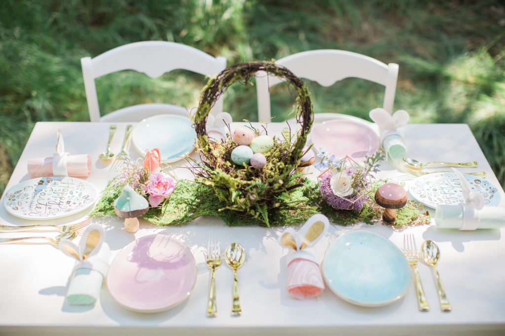Smash Cake SoCal | Whimsical Wooded Easter Egg Hunt, Stylized Shoot, woods, bunny, table setting, magical, floral crowns, childrens party, table setting, gold flatware, moss, bunny ears, easter basket, easter tablescape, easter centerpiece, spring, terrarium flower arrangement